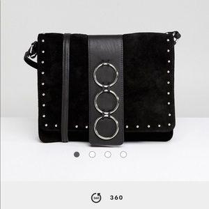 NWOT ASOS leather suede ring detail crossbody bag